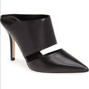 Ivanka Trump Black Leather Kippy Pump Mule Heels